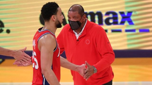 Philadelphia 76ers guard Ben Simmons, head coach Doc Rivers