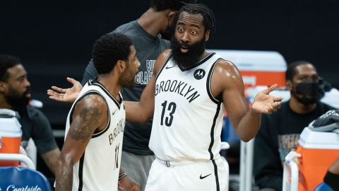 Brooklyn Nets guards James Harden and Kyrie Irving