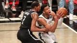 Milwaukee Bucks forward Giannis Antetokounmpo, Brooklyn Nets forward Kevin Durant