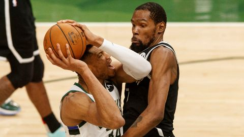 Brooklyn Nets forward Kevin Durant and Milwaukee Bucks forward Giannis Antetokounmpo