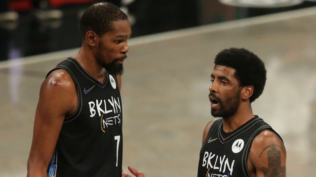 Brooklyn Nets players Kevin Durant and Kyrie Irving