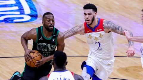 Oklahoma City Thunder guard Kemba Walker, New Orleans Pelicans guard Lonzo Ball