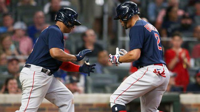 Boston Red Sox players Xander Bogaerts and Rafael Devers