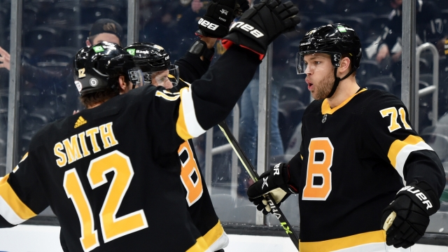 Boston Bruins left wing Taylor Hall, right wing Craig Smith