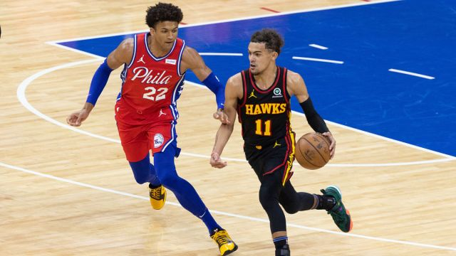 Atlanta Hawks guard Trae Young, Philadelphia 76ers guard Matisse Thybulle