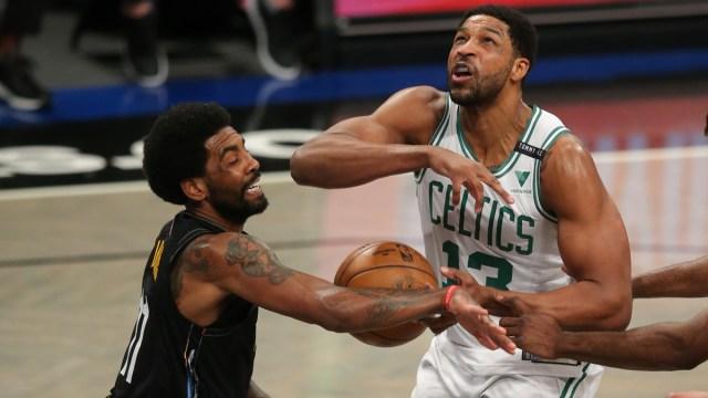 Brooklyn Nets guard Kyrie Irving, Boston Celtics center Tristan Thompson