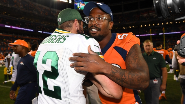 Green Bay Packers quarterback Aaron Rodgers, Denver Broncos linebacker Von Miller