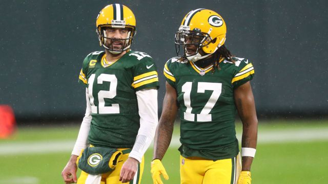 Green Bay Packers Quarterback Aaron Rodgers and wide receiver Davante Adams