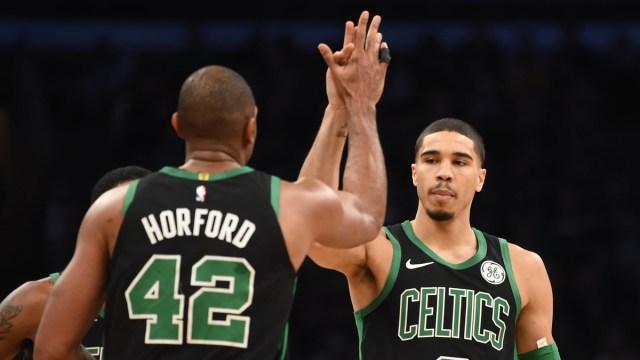 Boston Celtics Guard Al Horford And Forward Jayson Tatum