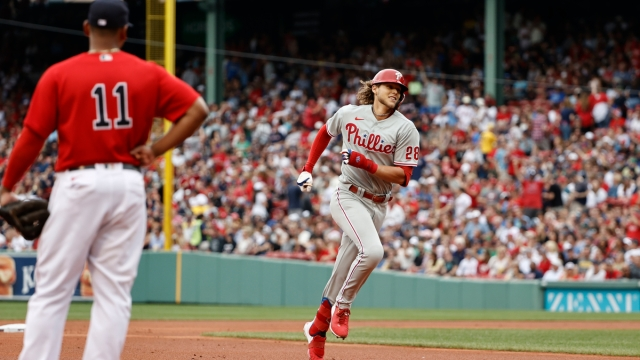 Philadelphia Phillies third baseman Alec Bohm, Boston Red Sox third baseman Rafael Devers