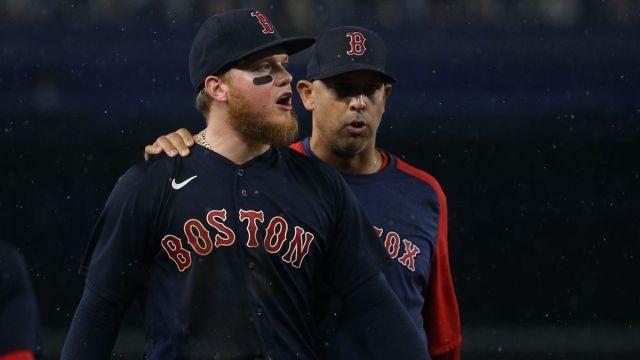 Boston Red Sox outfielder Alex Verdugo, manager Alex Cora