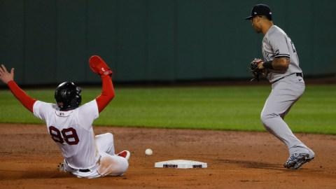 Boston Red Sox left fielder Alex Verdugo and New York Yankees shortstop Gleyber Torres