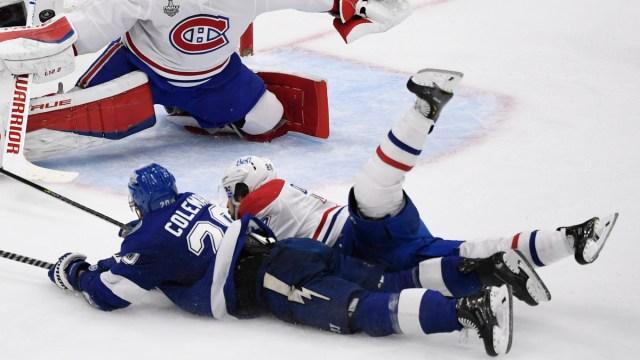 Montreal Canadiens center Phillip Danault, Tampa Bay Lightning winger Blake Coleman