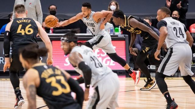 Toronto Raptors forward Pascal Siakam, Portland Trail Blazers guard C.J. McCollum