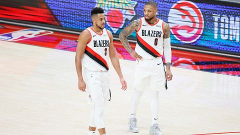 Portland Trail Blazers guards CJ McCollum and Damian Lillard