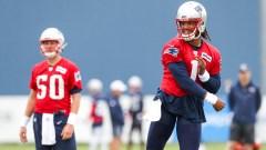 New England Patriots quarterbacks Cam Newton, Mac Jones