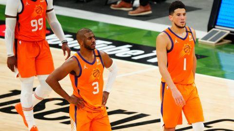 Phoenix Suns guards Chris Paul and Devin Booker