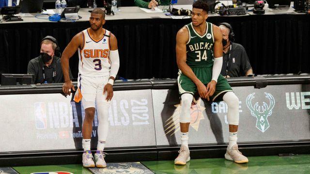 Phoenix Suns guard Chris Paul and Milwaukee Bucks forward Giannis Antetokounmpo