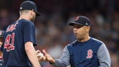 Boston Red Sox manager Alex Cora and starting pitcher Chris Sale (41)