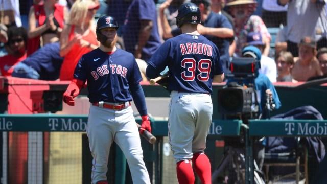 Boston Red Sox second baseman Christian Arroyo (39) and left fielder Alex Verdugo (99)