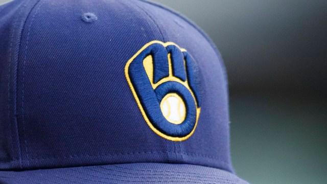Milwaukee Brewers outfielder Christian Yelich' hat