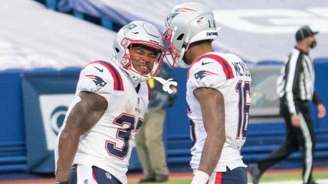 New England Patriots running back Damien Harris and wide receiver Jakobi Meyers