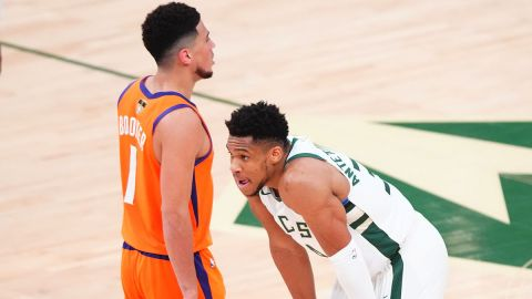 Phoenix Suns guard Devin Booker and Milwaukee Bucks forward Giannis Antetokounmpo