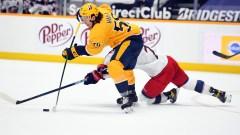 Boston Bruins forwards Erik Haula and Nick Foligno