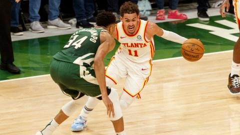 Milwaukee Bucks forward Giannis Antetokounmpo, Atlanta Hawks guard Trae Young