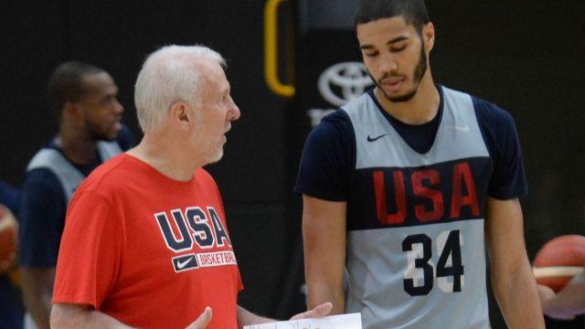 San Antonio Spurs coach Gregg Popovich, Boston Celtics forward Jayson Tatum