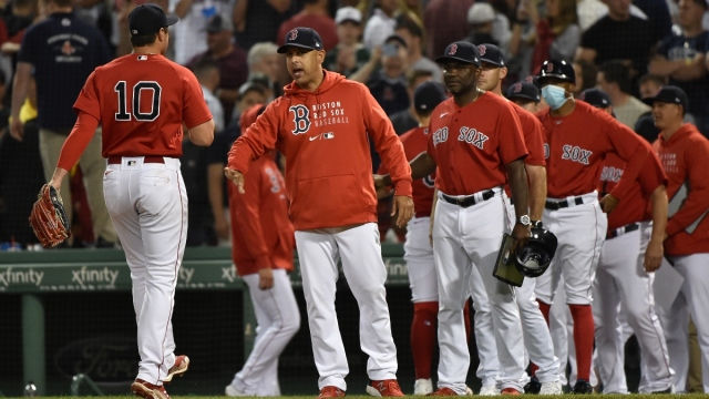 Boston Red Sox right fielder Hunter Renfroe (10) and manager Alex Cora
