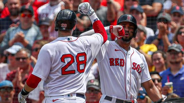 Boston Red Sox designated hitter J.D Martinez and shortstop Xander Bogaerts