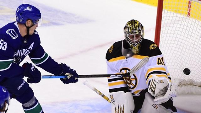 Vancouver Canucks forward Bo Horvat, goalie Jaroslav Halak