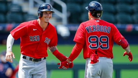 Boston Red Sox outfielders Jarren Duran and Alex Verdugo