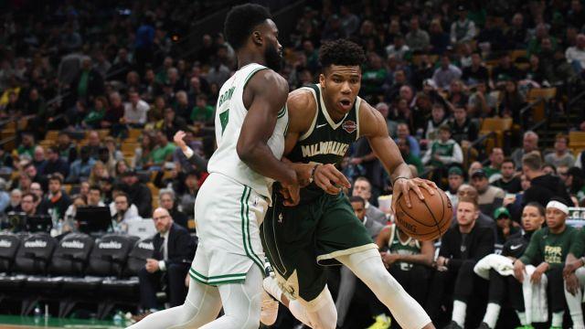 Milwaukee Bucks forward Giannis Antetokounmpo, Boston Celtics guard Jaylen Brown