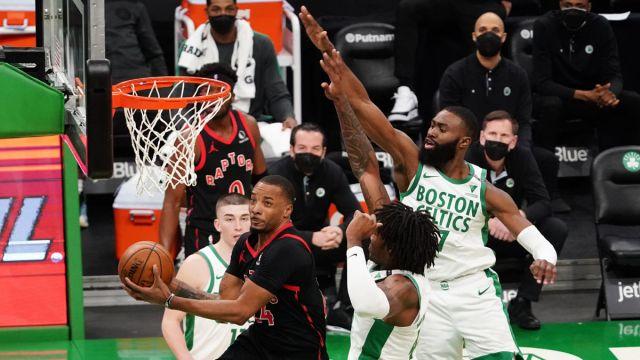 Boston Celtics guard Jaylen Brown and Robert Williams