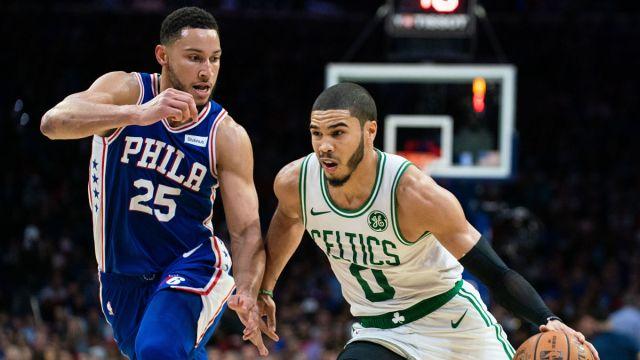 Philadelphia 76ers guard Ben Simmons and Boston Celtics forward Jayson Tatum