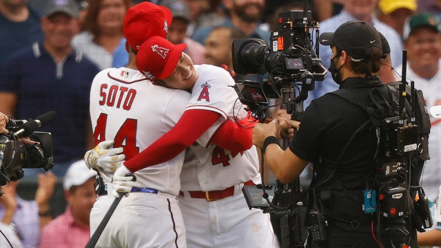 Washington Nationals Right Fielder Juan Soto And Los Angeles Angels Designated Hitter And Pitcher Shohei Ohtani