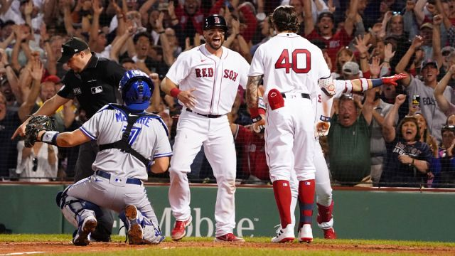 Boston Red Sox catcher Kevin Plawecki and outfielder Jarren Duran
