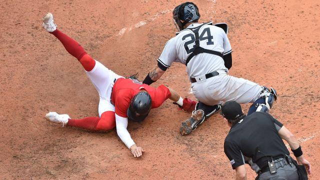 Boston Red Sox infielder/outfielder Kiké Hernández and New York Yankees catcher Gary Sanchez