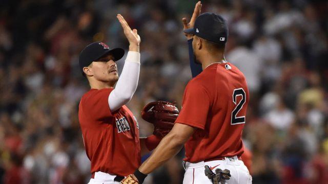 Boston Red Sox infielder/outfielder Kiké Hernández and shortstop Xander Bogaerts