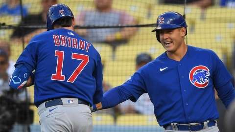 Chicago Cubs third baseman Kris Bryant (17) and first baseman Anthony Rizzo (44)