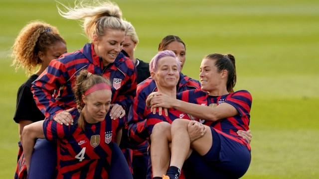 United States women's soccer team forward Megan Rapinoe (15) and defender Kelley O'Hara (5)