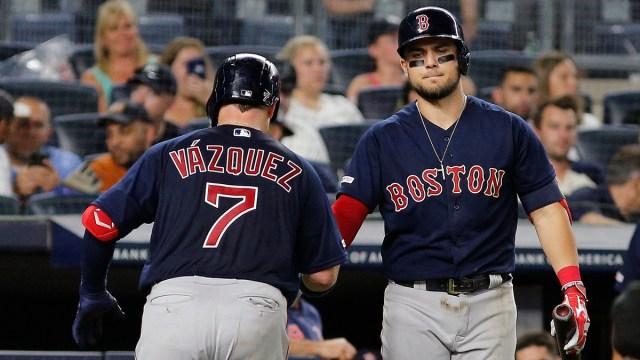 Boston Red Sox catcher Christian Vázquez, infielder Michael Chavis