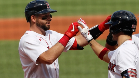 Boston Red Sox catcher Kevin Plawecki, infielder Michael Chavis