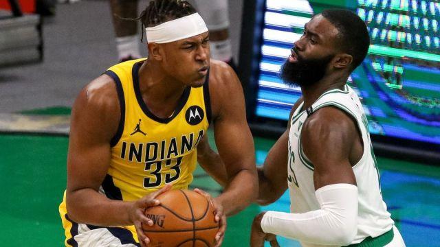 Indiana Pacers center Myles Turner, Boston Celtics guard Jaylen Brown