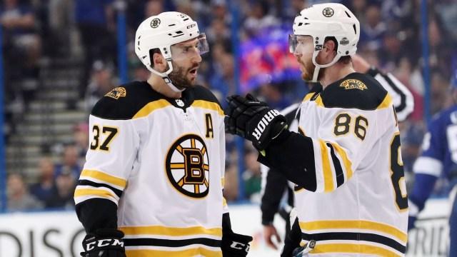 Boston Bruins Center Patrice Bergeron And Former Defenseman Kevan Miller
