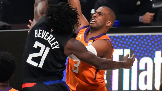 Los Angeles Clippers guard Patrick Beverley and Phoenix Suns guard Chris Paul