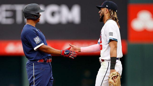 Boston Red Sox third baseman Rafael Devers and San Diego Padres shortstop Fernando Tatis Jr.