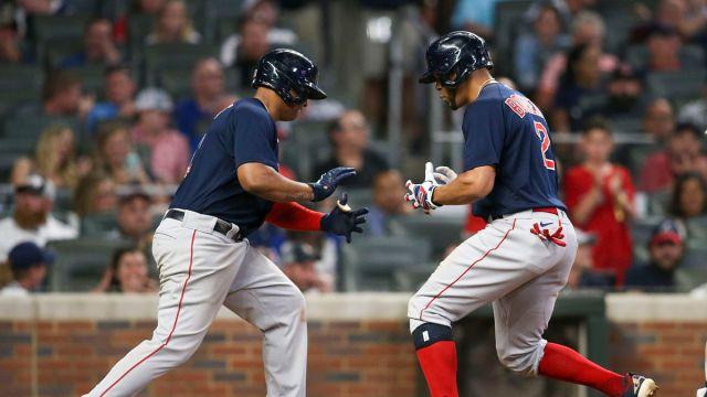 Boston Red Sox third baseman Rafael Devers, shortstop Xander Bogaerts